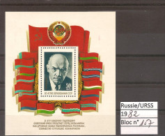RUSSIE & URSS  1982 / BLOC YT 157 ** (neuf) : 60 ème Anniversaire Fondation URSS - Portrait De LENINE - 1923-1991 USSR