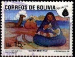 "Bolivia 1991 Used CEFIBOL 1418. Navidad. Pintura. ""Madre Indígena"" De Crespo Castelú. - Bolivia"