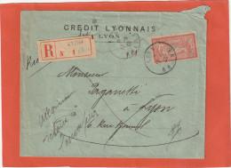 MERSON 40C YT 119 SUR ENV REC CREDIT LYONNAIS LYON 17/2/20 INCONNU RETOUR        Tdb - 1877-1920: Semi Modern Period