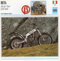 FICHE TECHNIQUE MOTO - DÉTAILS CARACTERISTIQUE AU DOS BETA 240 CM3 ZERO - JORDI TARRES 1991 / TRIAL - Motor Bikes