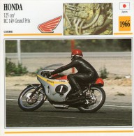 FICHE TECHNIQUE MOTO - DÉTAILS CARACTERISTIQUE AU DOS HONDA 125 CM3 / RC 149 GRAND PRIX 1966 / COURSE - Motor Bikes