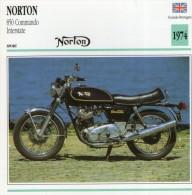 FICHE TECHNIQUE MOTO - DÉTAILS CARACTERISTIQUE AU DOS NORTON 850 COMMANDO INTERSTATE 1974 SPORT - Motor Bikes