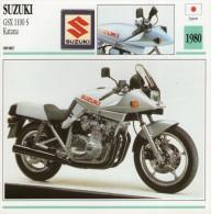 FICHE TECHNIQUE MOTO - DÉTAILS CARACTERISTIQUE AU DOS SUZUKI GSX 1100S KATANA 1980 SPORT - Motor Bikes