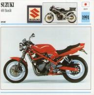 FICHE TECHNIQUE MOTO - DÉTAILS CARACTERISTIQUE AU DOS SUZUKI 400 BANDIT 1991 / SPORT - Motos