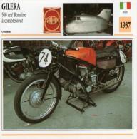 FICHE TECHNIQUE MOTO - DÉTAILS CARACTERISTIQUE AU DOS GILERA 500 CM3 RONDINE A COMPRESSEUR 1937 COURSE - Motor Bikes