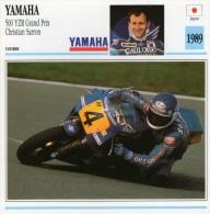 FICHE TECHNIQUE MOTO - DÉTAILS CARACTERISTIQUE AU DOS YAMAHA 500 YZR GRAND PRIX SARRON 1989 / COURSE - Motor Bikes