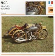 FICHE TECHNIQUE MOTO - DÉTAILS CARACTERISTIQUE AU DOS MGC 600 CM3 N3A SIDE CAR SIMARD 1933 / TOURISME - Motor Bikes
