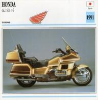 FICHE TECHNIQUE MOTO - DÉTAILS CARACTERISTIQUE AU DOS HONDA GL 1500 / 6 1991 TOURISME - Motor Bikes