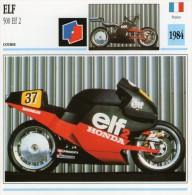 FICHE TECHNIQUE MOTO - DÉTAILS CARACTERISTIQUE AU DOS ELF 500 ELF 2 1984 COURSE - Motor Bikes