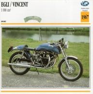 FICHE TECHNIQUE MOTO - DÉTAILS CARACTERISTIQUE AU DOS EGLI / VINCENT 100 CM3 1967 SPORT - Motor Bikes