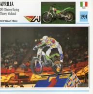 FICHE TECHNIQUE MOTO - DÉTAILS CARACTERISTIQUE AU DOS APRILIA 280 CLIMBER RACING T. MICHAUD 1991 TRIAL - Motor Bikes