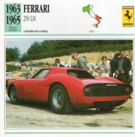FICHE TECHNIQUE VOITURE  - DÉTAILS CARACTERISTIQUE AU DOS FERRARI 250 LM 1963 / COURSE - Automobile - F1