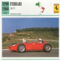FICHE TECHNIQUE VOITURE  - DÉTAILS CARACTERISTIQUE AU DOS FERRARI 256 F1 1958 COURSE - Automobile - F1