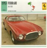 FICHE TECHNIQUE VOITURE  - DÉTAILS CARACTERISTIQUE AU DOS FERRARI 340 MM 1953 / COURSE - Automobile - F1