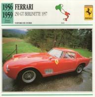 FICHE TECHNIQUE VOITURE  - DÉTAILS CARACTERISTIQUE AU DOS FERRARI 250 GT BERLINETTE 1957 COURSE - Automobile - F1
