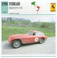 FICHE TECHNIQUE VOITURE  - DÉTAILS CARACTERISTIQUE AU DOS FERRARI  BERLINETTE 195S / COURSE 1950 - Automobile - F1