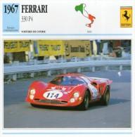 FICHE TECHNIQUE VOITURE  - DÉTAILS CARACTERISTIQUE AU DOS FERRARI 330 P4 /  COURSE 1967 - Automobile - F1