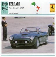 FICHE TECHNIQUE VOITURE  - DÉTAILS CARACTERISTIQUE AU DOS FERRARI 250GT CALIFORNIA 1960 SPORT - Automobile - F1