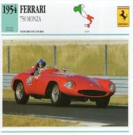 FICHE TECHNIQUE VOITURE  - DÉTAILS CARACTERISTIQUE AU DOS FERRARI 750 MONZA 1954 / COURSE - Automobile - F1