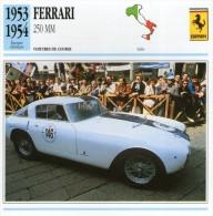 FICHE TECHNIQUE VOITURE  - DÉTAILS CARACTERISTIQUE AU DOS FERRARI 250 MM 1953 / COURSE - Automobile - F1