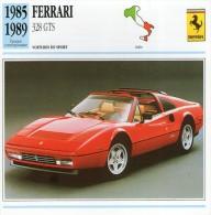 FICHE TECHNIQUE VOITURE  - DÉTAILS CARACTERISTIQUE AU DOS FERRARI 328 GTS 1985 SPORT - Automobile - F1