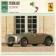 FICHE TECHNIQUE VOITURE  - DÉTAILS CARACTERISTIQUE AU DOS FERRARI 212 EXPORT 1951 / COURSE - Automobile - F1