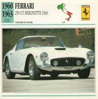 FICHE TECHNIQUE VOITURE  - DÉTAILS CARACTERISTIQUE AU DOS FERRARI 250 GT BERLINETTE 1960 COURSE - Automobile - F1