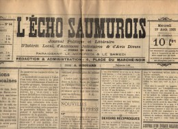journal , L'ECHO SAUMUROIS , 12 aout 1925 , 4 pages , frais fr : 1.80�