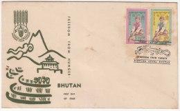 Bhutan  FDC 1963, Freedom From Hunger, FAO, F.A.O. Agriculture Grains - Bhutan