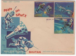 Bhutan FDC 1967, Man In Space, 3D Stamps, As Scan - Bhutan