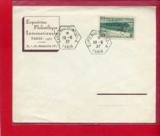 EXPOSITION PHILATELIQUE 1937 PARIS CONGRES INTERNATIONAL DES CHEMINS DE FER LOCOMOTIVE ELECTRIQUE 37 RUE DES MATHURINS - Curiosities: 1931-40 Covers & Documents