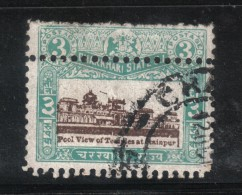 AP649 - STATI INDIANI , CHARKHARI :  3 Rupie Con Doppia Dentellatura  . Usato - Charkhari