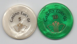 Casino Euro 92 Amneville : Lot De 3 Jetons 5, 10, 20 Francs - Casino