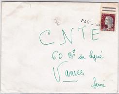 DECARIS - ENVELOPPE Avec MARQUE LINEAIRE De PARIS-BRUNE En ANNULATION - Marcophilie (Lettres)