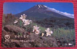 Telefonkarte Asien Japan NTT Vulkan Berge Blumen Landschaft Telephone Card 1991 - Volcans