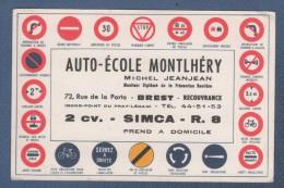 CARTE COMMERCIALE AUTO ECOLE MONTLHERY / MICHEL JEANJEAN MONITEUR - BREST RECOUVRANCE - 2 Cv. - SIMCA - R. 8 - Cartes De Visite