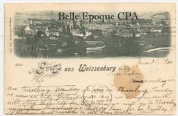 67 - WISSEMBOURG / GRUSS Aus Weissenburg ++++ Vers Bayonne, NY, USA, 1900 +++++ RARE / Cliché PAS Sur Delcampe - Wissembourg