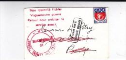"""1967 - ENVELOPPE Pour PARIS Avec MENTION """"NON IDENTIFIE FICHIER VAGUEMESTRE De GUERRE  RETOUR...""""  MINISTERE Des ARMEES - Marcophilie (Lettres)"""