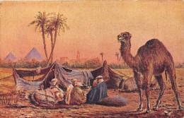 EGYPTE.    BEDOUINS PRES LES PYRAMIDES.  CARTE ILUSTREE. - Egypt