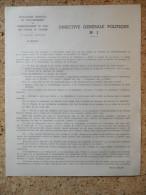 Directive Générale Politique N°1, Salan, CCFA - Historische Documenten