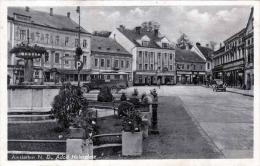 AMSTETTEN N.D., Adolf Hitlerplatz Rotes Kreuz Auto - Karte Gel. Als Feldpost 1941 Nach Zwettl, Stempel Der 5.Komp./Inf.E - Amstetten