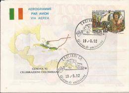 1992 AEROGRAMMA 850 L 1992 CRISTOFORO COLOMBO FDC CAGLIARI - Postwaardestukken