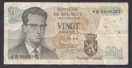 België Belgique Belgium 15 06 1964 20 Francs Atomium Baudouin. 4 D 3699307. - [ 6] Schatzamt