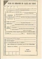 Fiche De Demande De Carte De Tabac Années 40 Très Bon Etat - Documents