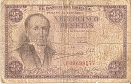 BILLETE DE ESPAÑA DE 25 PTAS DEL 19/02/1946 SERIE F  CALIDAD RC (BANKNOTE) - 25 Pesetas