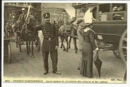 PARIS , Agent Réglant La Circulation Des Voitures Et Des Piétons , Reproduction D'une CPA - Petits Métiers à Paris