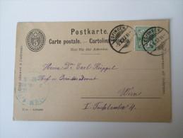 Schweiz Ganzsache 1892 / 1902 Mit Zusatzfrankatur Nach Österreich / Wien - Covers & Documents