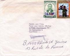 HONDURAS 1959, 2 Fach Sondermarken Frankierung Auf Brief, Marken Mit Wertüberdruck, Gel.v.Tegucigalpa Honduras - Honduras