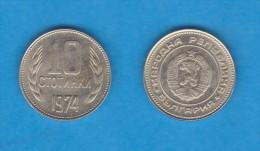 BULGARIA  10 STOTINKI   1.974    Niquel  Laton   KM#87   MBC+ DL-10.893 - Bulgaria