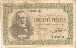 BILLETE DE ESPAÑA DE 50 PTAS DEL 9/01/1940 SERIE E CALIDAD  RC (BANKNOTE) - [ 3] 1936-1975: Regime Van Franco